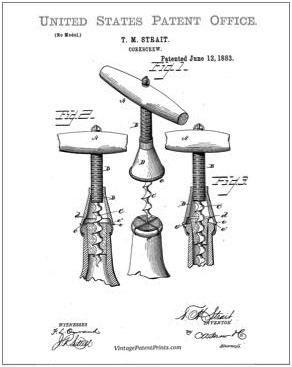 Strait Corkscrew Patent Drawing