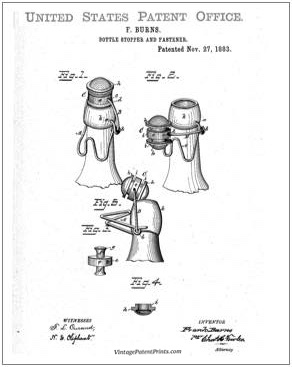 Burns Bottle Stopper Patent Drawing