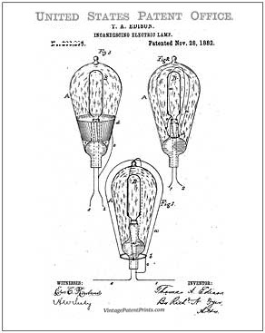 Edison Lamp Patent Drawing