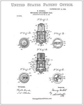 First electrical plug patent drawing