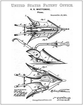 Whittemore Plow Patent Drawing