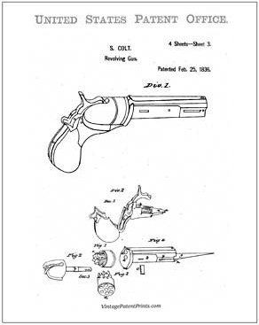 first colt revolver patent drawing