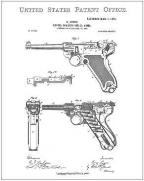 Luger small arms patent drawing