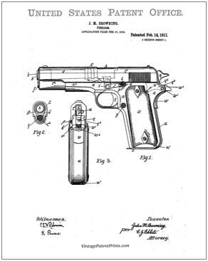 Browning 1911 Patent Drawing