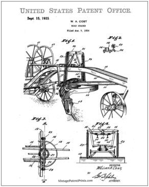 Adams Road Grader Patent Drawing