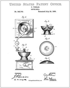 Coffee Mill Patent Drawing