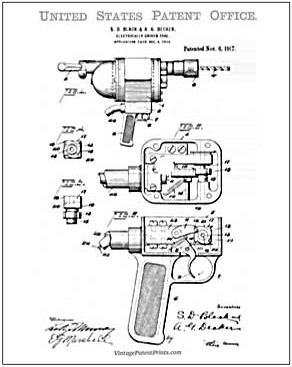 First pistol grip drill patent drawing