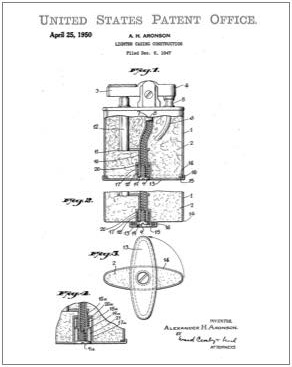 Ronson Lighter patent Drawing