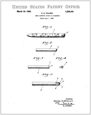 Self lighting cigar or cigarette patent Drawing