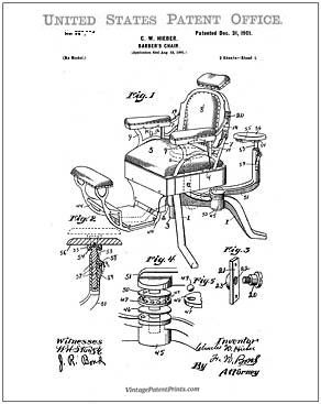 Barber Chair Patent Drawing