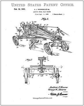 Monroe Road Grader Patent Drawing